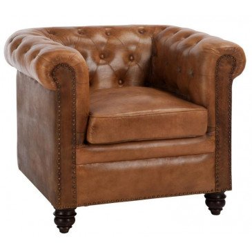Fauteuil 1 Personne Chesterfield Cuir Cognac | www.cosy-home-design.fr