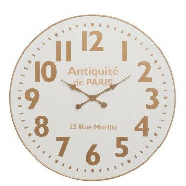 Horloge Antiquite De Paris Bois Blanc/Or Large | www.cosy-home-design.fr