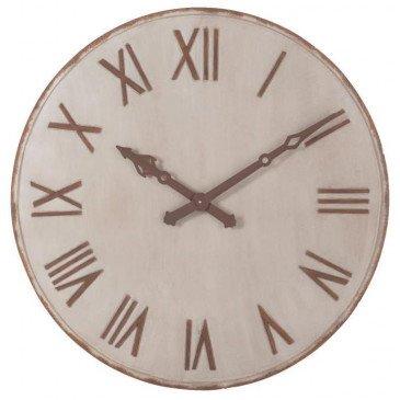 Horloge Chiffres Romains Métal Beige/Rouille Large | www.cosy-home-design.fr