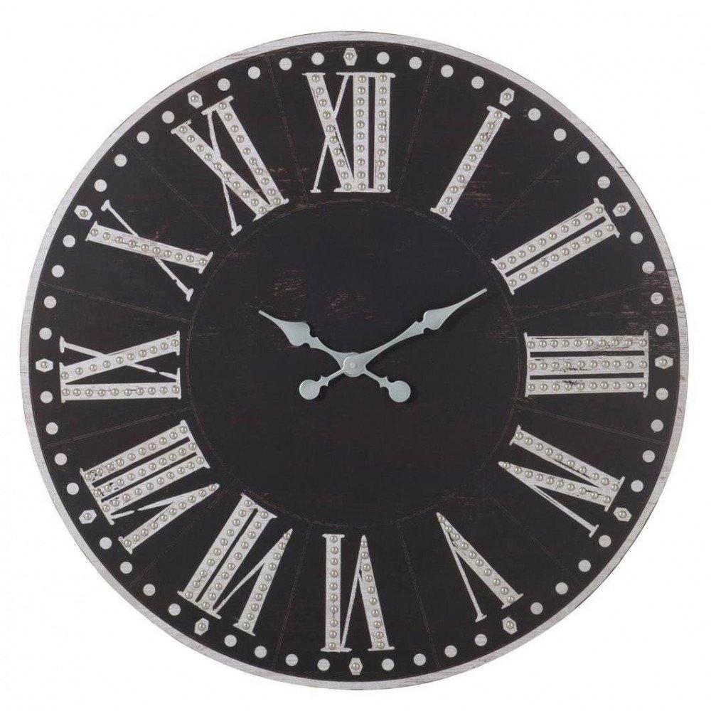 Horloge Chiffres Romains Bois Métal Noir/Blanc | www.cosy-home-design.fr