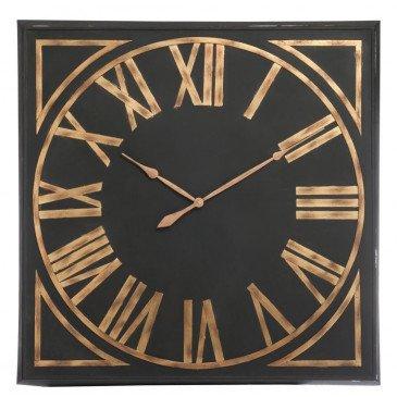Horloge Carrée Chiffres Romains Métal Noir/Marron | www.cosy-home-design.fr