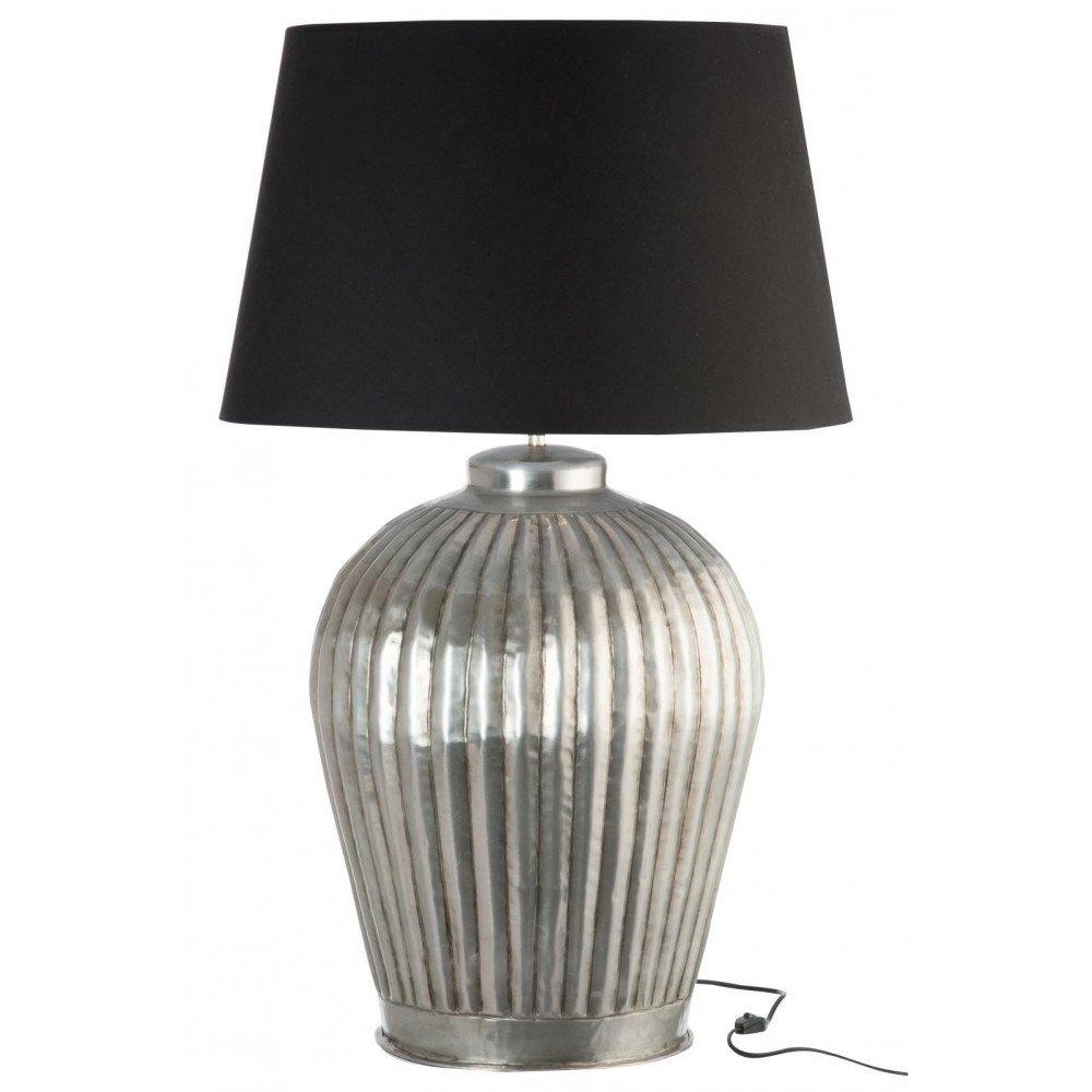 Lampe Cannelures Aluminium Gris/Noir Large | www.cosy-home-design.fr