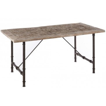 Table A Manger Rectangulaire Bois/Métal Gris  | www.cosy-home-design.fr