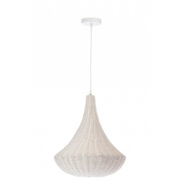 Suspension Conique en Rotin Blanc | www.cosy-home-design.fr