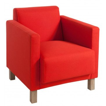 Fauteuil 1 Personne Polyester Rouge/Bois Naturel | www.cosy-home-design.fr