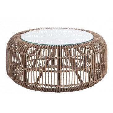 Table Ronde Rotin/Verre Naturelle | www.cosy-home-design.fr