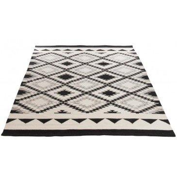 Tapis Rectangulaire Ethnique Coton Noir/Blanc | www.cosy-home-design.fr