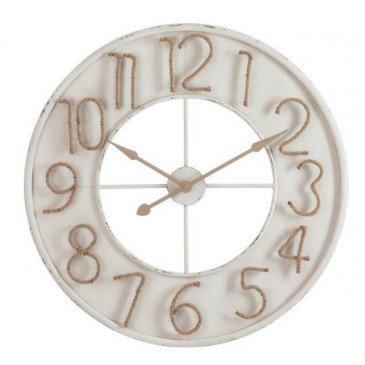 Horloge Chiffres Jute Métal Blanc Large | www.cosy-home-design.fr