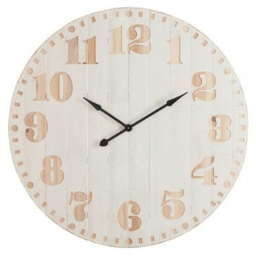 Horloge Chiffres Bois Blanc/Naturel | www.cosy-home-design.fr