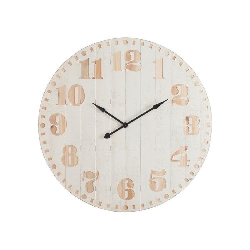 Horloge Chiffres Bois Blanc/Naturel   www.cosy-home-design.fr