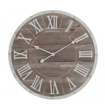 Horloge Ronde Chiffres Romains Métal/MDF Marron/Blanc Petit | www.cosy-home-design.fr