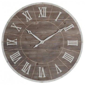Horloge Ronde Chiffres Romains Métal/MDF Marron/Blanc Large | www.cosy-home-design.fr