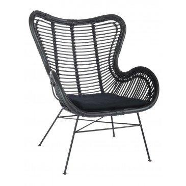 Chaise+Coussin Rotin/Métal Noir Mat | www.cosy-home-design.fr