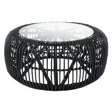 Table Ronde Rotin/Verre Noir Mat | www.cosy-home-design.fr