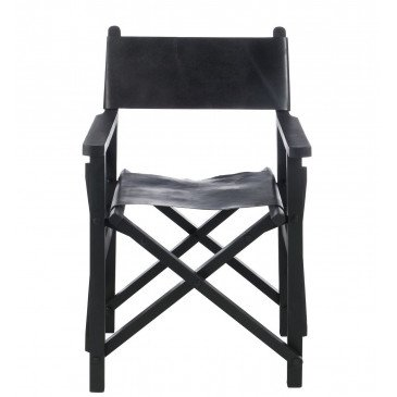 Chaise Regisseur Pliante Bois/Cuir Noir | www.cosy-home-design.fr