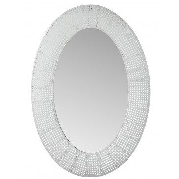 Miroir Ovale Trou Métal/Verre Blanc Antique | www.cosy-home-design.fr