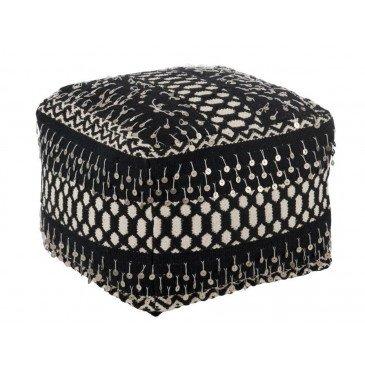 Pouf Perles Coton Noir/Blanc | www.cosy-home-design.fr