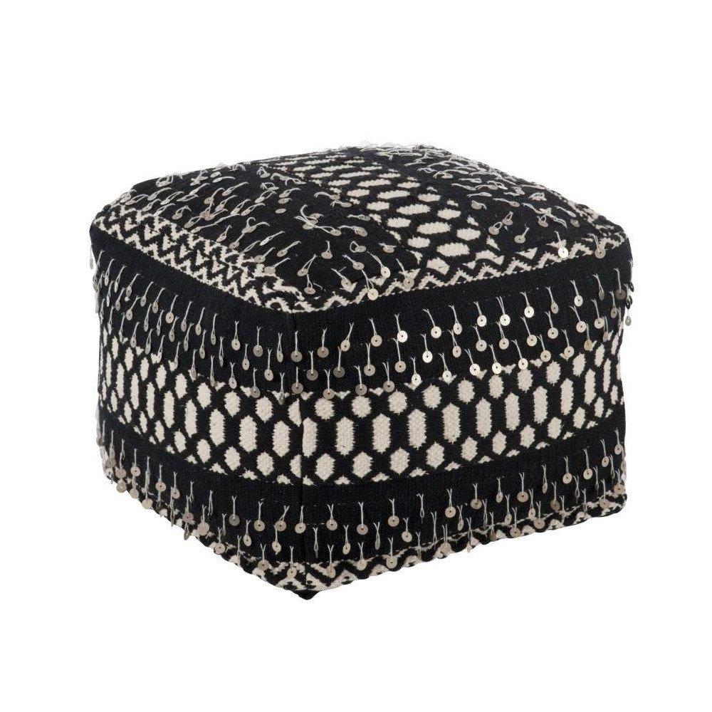 Pouf Perles Coton Noir/Blanc   www.cosy-home-design.fr
