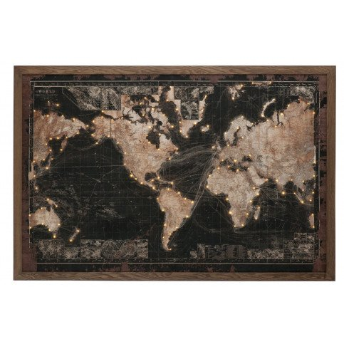 Cadre Led Batterie Mappemonde Bois/Canvas Noir/Marron | www.cosy-home-design.fr