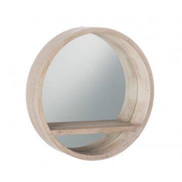 Miroir Rond Tablette Bois Blanchi Petit | www.cosy-home-design.fr