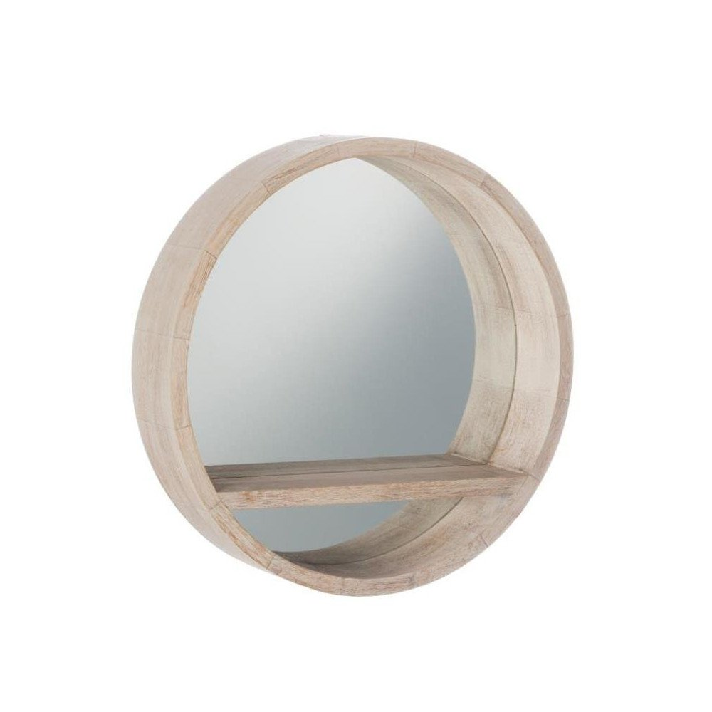 Miroir Rond Tablette Bois Blanchi Petit   www.cosy-home-design.fr