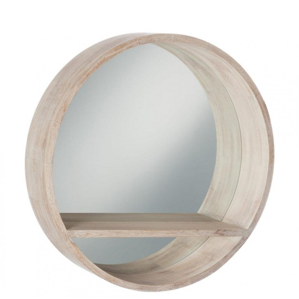 Miroir Rond Tablette Bois Blanchi Large | www.cosy-home-design.fr