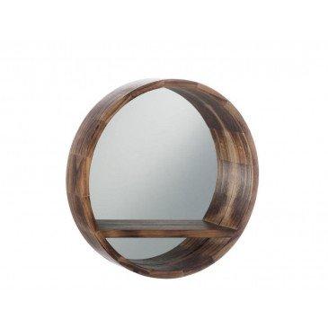 Miroir Rond Tablette Bois Marron Petit | www.cosy-home-design.fr