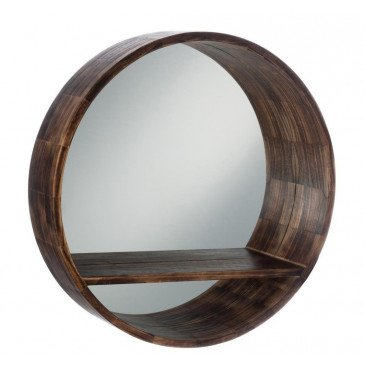 Miroir Rond Tablette Bois Marron Large | www.cosy-home-design.fr