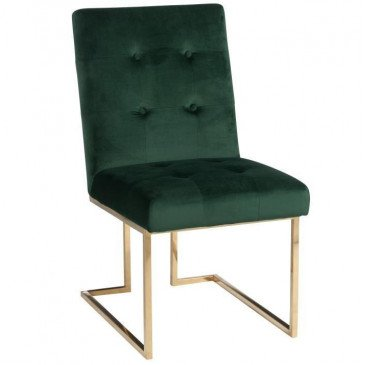 Chaise Velours Vert Métal Or | www.cosy-home-design.fr
