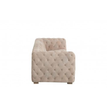Canapé 3 Places Boutons Suede Beige | www.cosy-home-design.fr