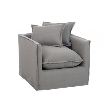 Fauteuil Coussin 1 Personne Lin Gris | www.cosy-home-design.fr