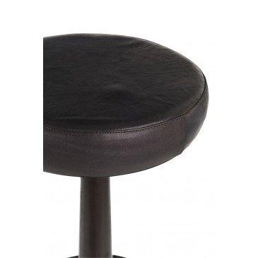 Tabouret Cuir/Métal Noir  | www.cosy-home-design.fr