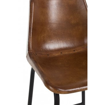 Chaise Bar Cuir/Métal Cognac | www.cosy-home-design.fr