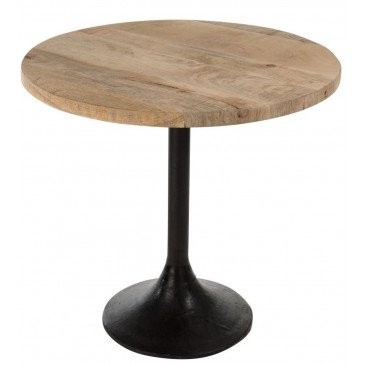 Table Bar Rond Bois/Métal Naturel/Noir | www.cosy-home-design.fr