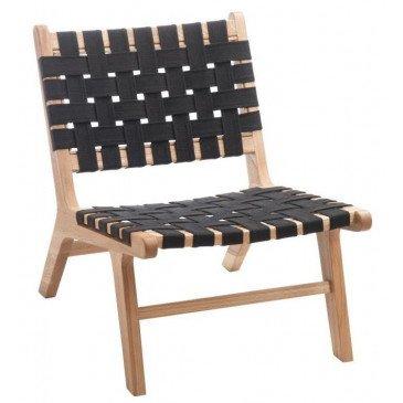 Chaise Ethnique Bois/Textile Noir | www.cosy-home-design.fr