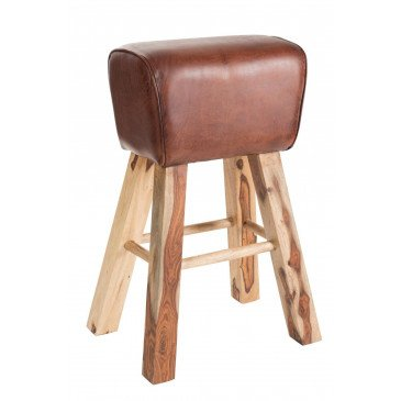 Tabouret De Gym Cuir/Manguier Bois Marron/Naturel | www.cosy-home-design.fr