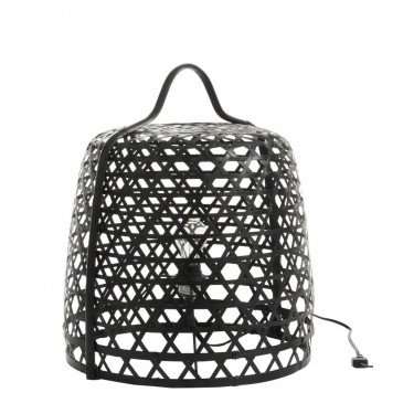 Lampe Basse Ronde Bambou Noir | www.cosy-home-design.fr