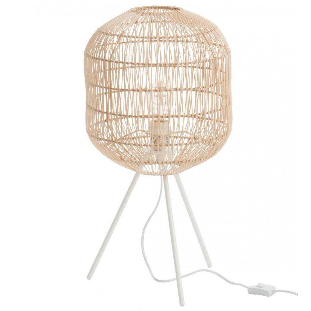 Lampe Trépied Ronde Papier/Métal Naturel/Blanc | www.cosy-home-design.fr