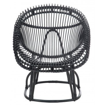 Chaise et Coussin Roco Rotin Noir | www.cosy-home-design.fr