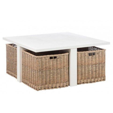 Table Basse Carrée et 4 Paniers Bois Blanc | www.cosy-home-design.fr
