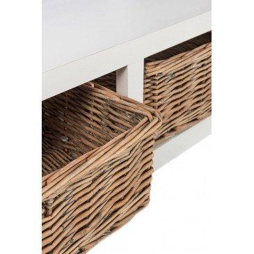 Table Basse Rectangulaire et 2 Paniers Bois Blanc | www.cosy-home-design.fr