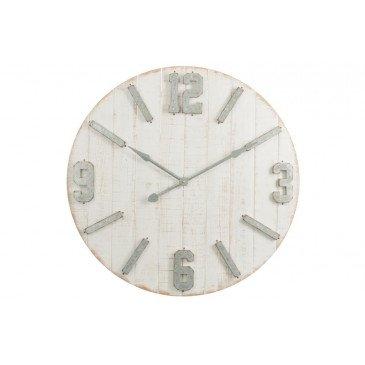 Horloge Planches et Zinc Bois Blanc Naturel Large | www.cosy-home-design.fr