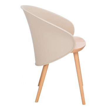 Chaise Penez Bois/Polypropylene Naturel/Marron Clair | www.cosy-home-design.fr