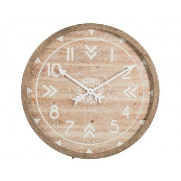 Horloge Ronde Bois/Métal Antique Blanc/Naturel Wash | www.cosy-home-design.fr