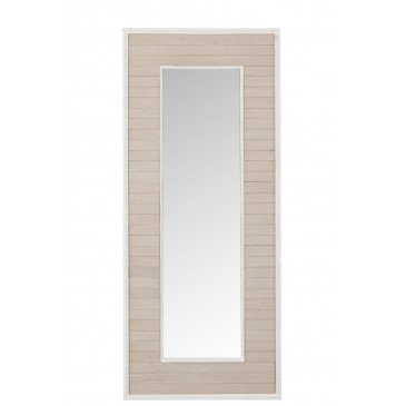 Miroir Planches Rectangulaire Bois/Verre Naturel/Blanc Antique | www.cosy-home-design.fr