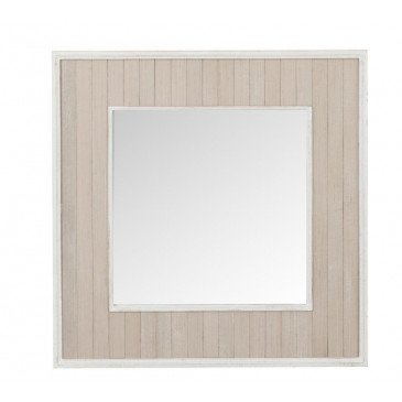 Miroir Planches Carré Bois/Verre Naturel/Blanc Antique | www.cosy-home-design.fr