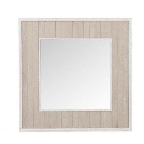 Miroir Planches Carré Bois/Verre Naturel/Blanc Antique | www.cosy-home-design.fr