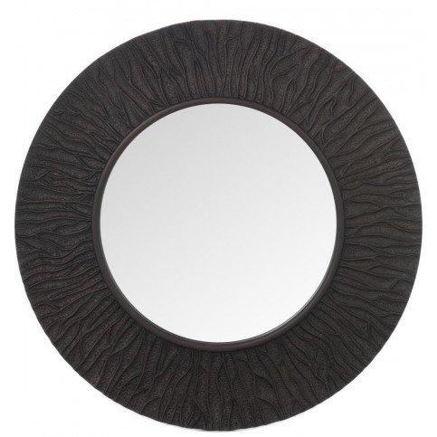 Miroir Nervures Rond Pu/Verre Marron Foncé | www.cosy-home-design.fr
