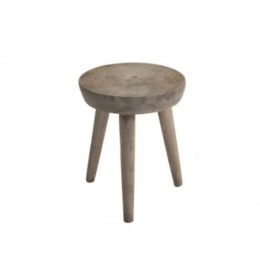 Tabouret Rond Paulownia Gris | www.cosy-home-design.fr