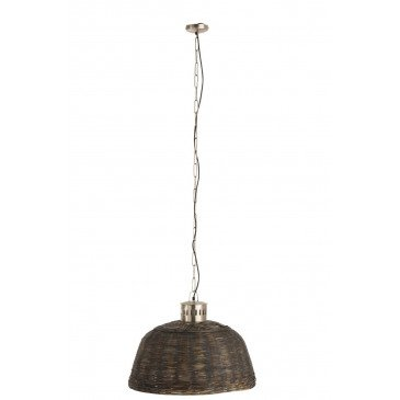 Suspension Ronde Bambou Noir Petit | www.cosy-home-design.fr